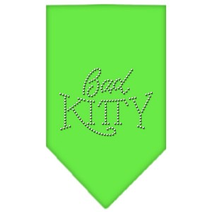 Bad Kitty Rhinestone Bandana Lime Green Large