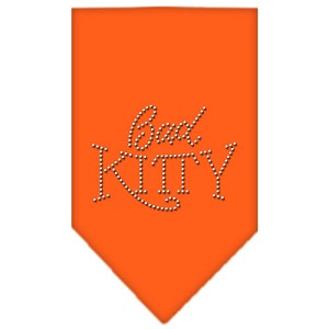Bad Kitty Rhinestone Bandana Orange Large