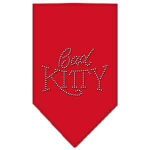 Bad Kitty Rhinestone Bandana Red Large