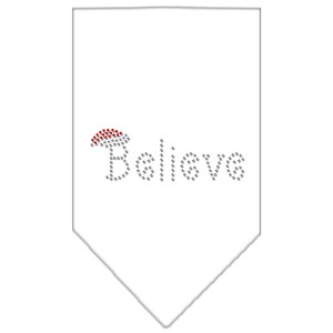 Believe Rhinestone Bandana White Small