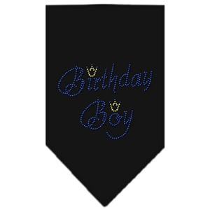 Birthday Boy Rhinestone Bandana Black Small