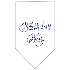 Birthday Boy Rhinestone Bandana White Large