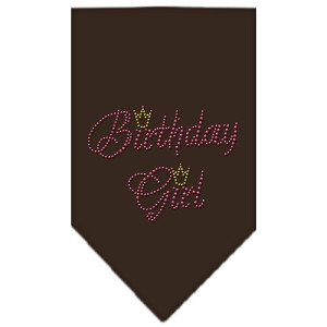 Birthday Girl Rhinestone Bandana Cocoa Large