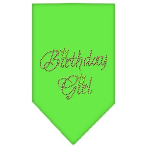 Birthday Girl Rhinestone Bandana Lime Green Small