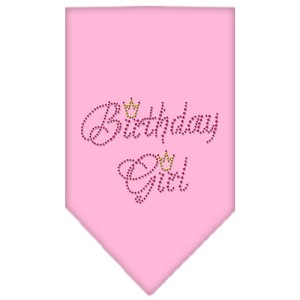 Birthday Girl Rhinestone Bandana Light Pink Small