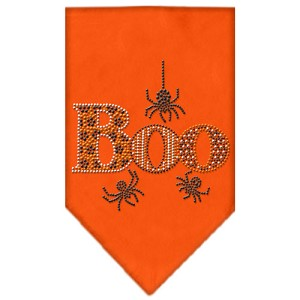 Boo Rhinestone Bandana Orange Small