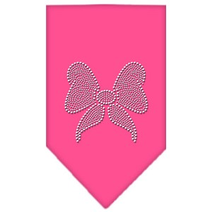 Bow Rhinestone Bandana Bright Pink Small