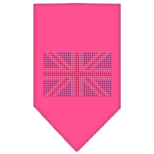 British Flag Rhinestone Bandana Bright Pink Large