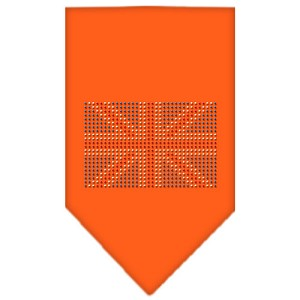 British Flag Rhinestone Bandana Orange Small