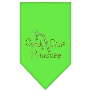 Candy Cane Princess Rhinestone Bandana Lime Green Small