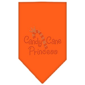 Candy Cane Princess Rhinestone Bandana Orange Large