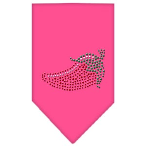 Chili Pepper Rhinestone Bandana Bright Pink Large