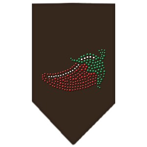Chili Pepper Rhinestone Bandana Cocoa Large
