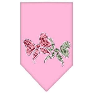 Christmas Bows Rhinestone Bandana Light Pink Large