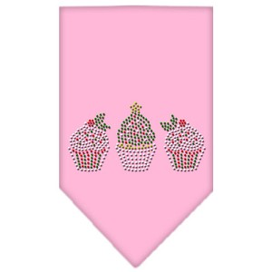 Christmas Cupcakes Rhinestone Bandana Light Pink Small