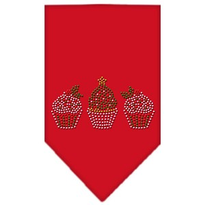 Christmas Cupcakes Rhinestone Bandana Red Small