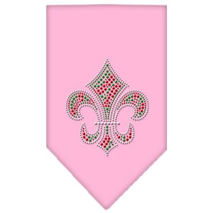 Christmas Fleur De Lis Rhinestone Bandana Light Pink Small