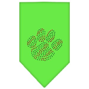 Christmas Paw Rhinestone Bandana Lime Green Small