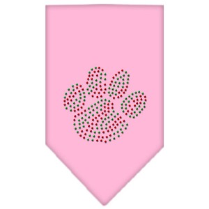 Christmas Paw Rhinestone Bandana Light Pink Large