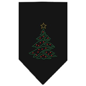 Christmas Tree Rhinestone Bandana Black Small