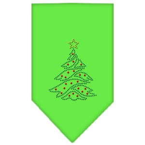 Christmas Tree Rhinestone Bandana Lime Green Small