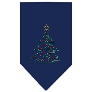 Christmas Tree Rhinestone Bandana Navy Blue Small