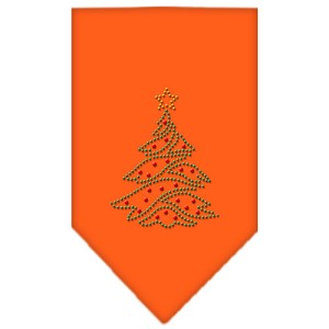 Christmas Tree Rhinestone Bandana Orange Small