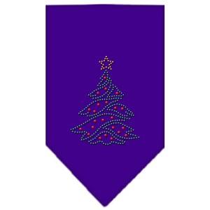 Christmas Tree Rhinestone Bandana Purple Large