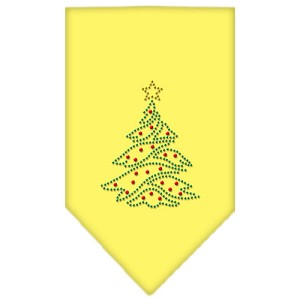 Christmas Tree Rhinestone Bandana Yellow Large