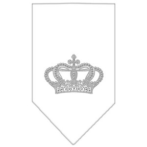 Crown Rhinestone Bandana White Large