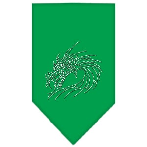 Dragon Rhinestone Bandana Emerald Green Large