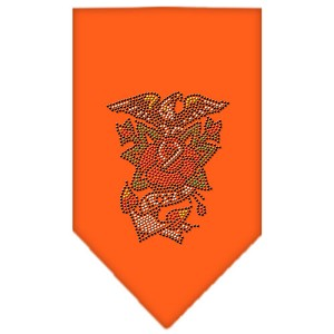 Eagle Rose Rhinestone Bandana Orange Small