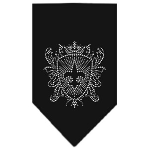 Fleur De Lis Shield Rhinestone Bandana Black Small