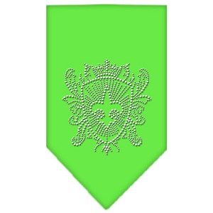Fleur De Lis Shield Rhinestone Bandana Lime Green Small