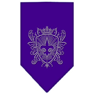 Fleur De Lis Shield Rhinestone Bandana Purple Large