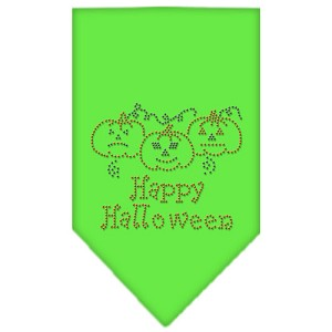 Happy Halloween Rhinestone Bandana Lime Green Large