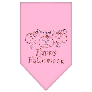 Happy Halloween Rhinestone Bandana Light Pink Large