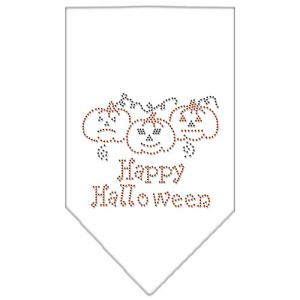 Happy Halloween Rhinestone Bandana White Large
