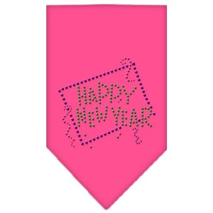 Happy New Year Rhinestone Bandana Bright Pink Large