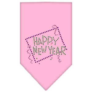 Happy New Year Rhinestone Bandana Light Pink Small