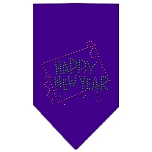 Happy New Year Rhinestone Bandana Purple Small