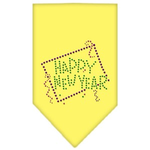 Happy New Year Rhinestone Bandana Yellow Large