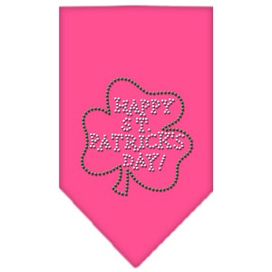 Happy St. Patricks Day Rhinestone Bandana Bright Pink Large