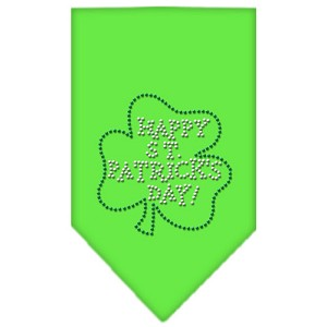 Happy St. Patricks Day Rhinestone Bandana Lime Green Small