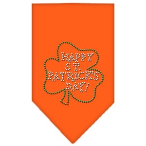 Happy St. Patricks Day Rhinestone Bandana Orange Small