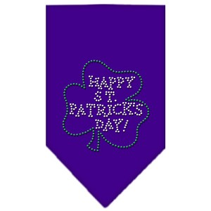 Happy St. Patricks Day Rhinestone Bandana Purple Large
