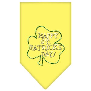 Happy St. Patricks Day Rhinestone Bandana Yellow Small