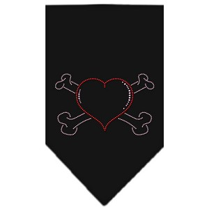 Heart Crossbone Rhinestone Bandana Black Small