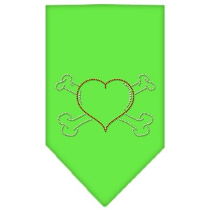 Heart Crossbone Rhinestone Bandana Lime Green Small