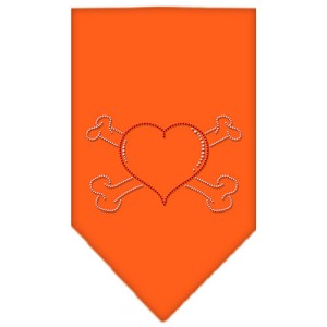 Heart Crossbone Rhinestone Bandana Orange Large